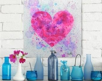 Painting, Wall Art, Original artwork, Heart, Love, Pink, Home Decor, Decoration, Canvas, Item #Bubble Heart