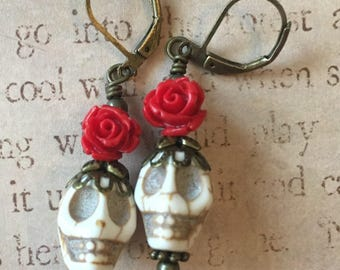 Red Roses Day of the Dead Earrings