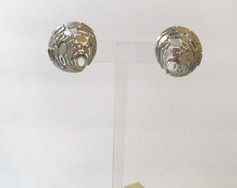 Vintage Crown Trifari Silver 60's Earrings