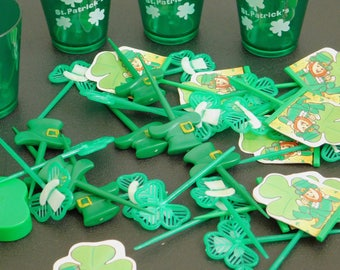 Vintage St Patrick's Day Variety Pack, Jiggers, Cupcake Toppers, Cake Picks, Cookie Cutter, Decorations, Irish Hats, Irish Pipes, Shamrocks