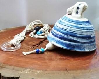 Valentine gift ideas, Blue and white bell, bell, porcelain bells, Ceramic bell, pottery bell, indoor bell, bell gift, garden decorating