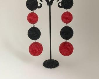 Four ball style Beaded Earrings clip-on les bonbons earrings