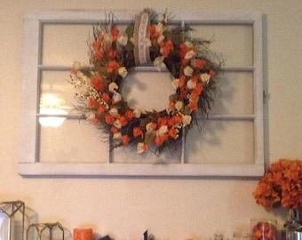 ON SALE Fall Mantel decor - fall wreath hanger - rustic wood window frame - 6 pane window - 8 pane window - 9 pane window - window to hang w