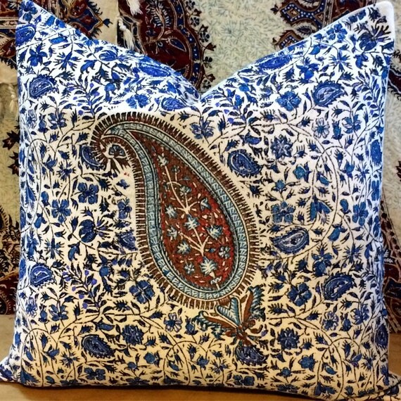 Decorative blue paisley pillow, quality handprinted Cushion, Cotton and linen pillow, gift idea, blue pillows, skye blue tapestry pillow