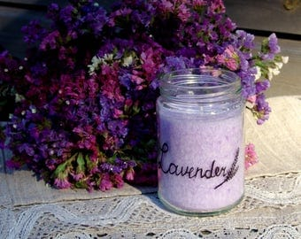 Jar candle. Painted flower jar candle. Upcycled jar. Lavender candle. Lavender. Handmade candle. Vegan candle. Purple candle. Organic candle