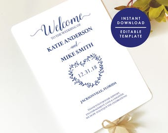Navy blue Wedding Fan Program Template, Printable Program, Heart Wreath, Instant Download, Editable Template,  WP131