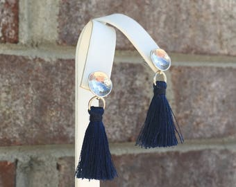 Matte Silver Earring/ Navy Blue Tassel/ Silk Tassel/ Tassel Earring/ Lightweight/ Silver Ear Post/ Mini Tassel