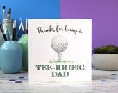 Dad card, Dad birthday card, Birthday card, Golf card, Golf pun, Tee-rrific Dad, greeting card