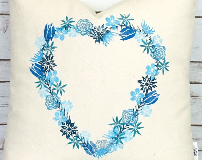 Organic canvas heart wreath pillow cover - blues.  Ready to ship.