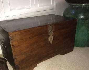 Old colonial Indian chest, coffee table, trunk