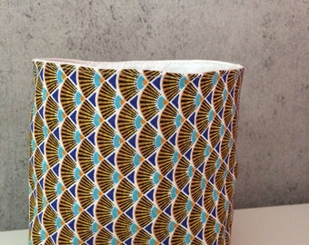 Basket, basket; tidy, article in African fabric