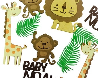 Personalized Jungle Animal Confetti. Use for Jungle theme Baby Shower or Birthday Party