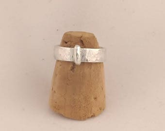 Sterling silver Outlander Claire's flat wedding ring hammered