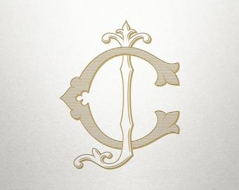 Interlocking Wedding Monogram - CJ JC - Interlocking Monogram - Digital