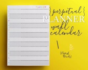 Wall Calendar Printable - Grey & Rainbow - A1 - Giant, Large Perpetual Year Planner