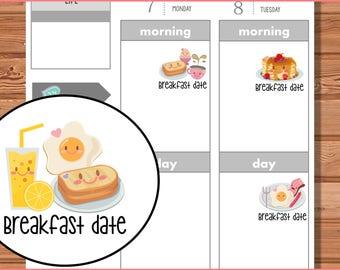 Kiki Kuties Planner Stickers - Breakfast, printable stickers, kawaii, meals, calendar stickers, breakfast date, eggs, coffee, pancakes, meal
