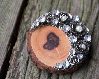 Handmade Salvage Wood & Floral Moon Shape Vintage Jewelry Faux Pearl Rhinestone Large Brooch Eco Friendly Boho Live Bark Edge OOAK Repurpose