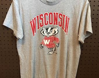 1980s University of Wisconsin Badgers shirt Vintage Medium on Screen Stars