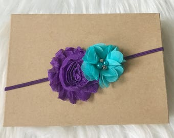 Purple & Aqua Headband, Purple Headband, Aqua Headband, Baby Headband, Baby Girl Headband, Infant Headband, Newborn Headband, Girl Headband