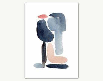 Abstract Watercolor Print, Wall Art, Modern Minimalist Painting, Printable Digital Download, Large Poster, Blue Abstract, Original Painting