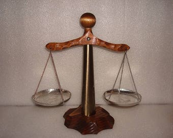 """Unique Hardwood And Steel Scales Of Justice / Balancing Scale Usable 9 1/2"""" Tall"""