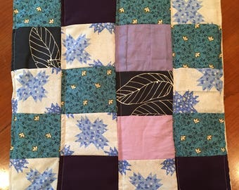 Baby Quilt - blue and purple