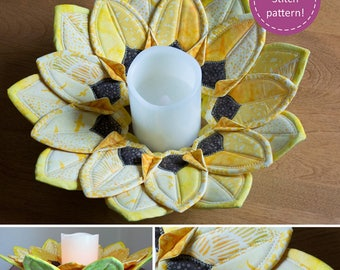 Sunflower Topper Pattern from Poorhouse Quilt Designs, Candle Holder Pattern