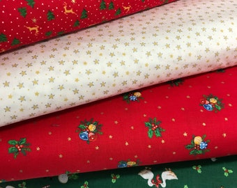 Bundle of 4 Fabrics from the Under the Christmas Tree 2017 Collection by Lecien, Choose the Cut, Christmas Fabric, Holiday