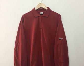 STUSSY Polo Shirt/Vintage 90s Stussy Longsleeve Rugby Shirt/Stussy Sport/Streetwear/Red/Size M