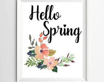 Welcome Spring Printable welcome flower print garden print art Spring Decor Art Spring Art Print Hello Spring print printable
