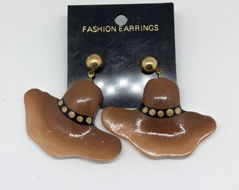 Vintage Cowgirl Hat Earrings Post Dangle Large Oversized Rodeo Theme Ceramic Gold Jewelry