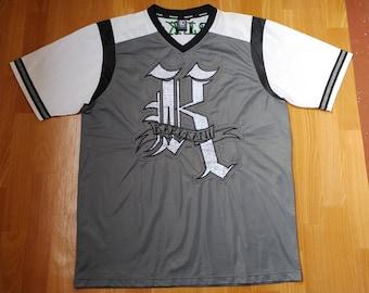 KARL KANI jersey, vintage hiphop t-shirt of 90s hip-hop clothing, 1990s hip hop shirt, gray, og, gangsta rap, old-school, og, size L Large