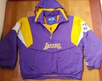 NBA Los Angeles Lakers jacket, vintage STARTER 1/2 half zip jacket, purple anorak basketball coat 90s hip hop clothing 1990s hip-hop size XL