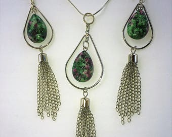 Green/Pink Agate Crystal Necklace and Earring Set with Tassels
