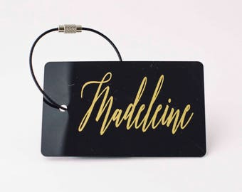 Luggage Tag - FREE SHIPPING, Black and Gold Personalized Luggage Tag, Bag Tag, Custom Luggage Tag, Travel Gift, Custom Gifts, Travel Tag