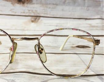 Vintage 90s Eyeglasses, Vintage Disney Eyeglasses Frames Floral Eyeglasses Confetti Print, Oversized Eyeglasses, 90s Glasses 90s Accessories