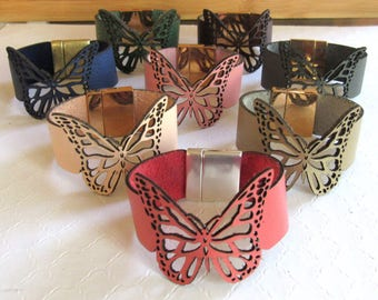 Butterfly Leather Cuff, Butterfly Wrap Bracelet, Butterfly Leather Bracelet, Wristband Trends, Boho Jewelry,Womens Bracelet,Laser Cut,Unique