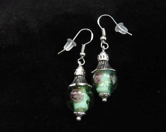 earrings with glass beads murano green transparant with flowers