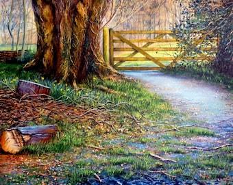 Beech Wood Path (print of original acrylic painting)