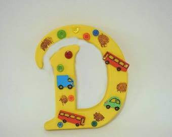 Childrens wooden room letters bedroom home decore cars bright words personalised diggers buses tractors cars boys bedroom decorating