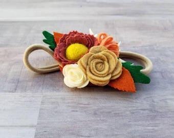 Baby Headband, toddler headband, fall headband, felt flower headband, felt flowers, one size fits all headband