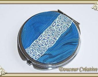 Blue white pattern 111009 Pocket mirror