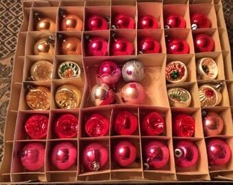 Vintage 40 glass Christmas tree ornaments mix box