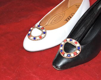 Vintage Red/White/Blue Shoe Clips