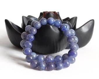 Tanzanite Bracelet / December Birthstone Bracelet / Natural, Not Dyed Tanzanite Grade AAA / Stretch Bracelet / 8mm OR 10mm