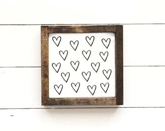 Wood sign, spring sign, spring decor, farmhouse sign, hearts, black and white decor