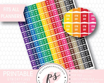 Rainbow Gym Day Flags Printable Planner Stickers | JPG/PDF/Silhouette Cut File