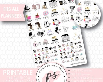 Various To Do & Lifestyle Tasks Icons Digital Printable Planner Stickers | JPG/PDF/Silhouette Compatible Cut File