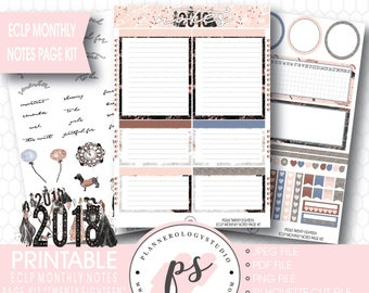 Twenty Eighteen 2018 New Year's Monthly Notes Page Kit Printable Planner Stickers (for Erin Condren ECLP) | JPG/PDF/Silhouette Cut File