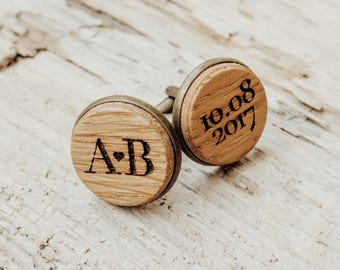 Personalized Cufflinks,  Custom Engraved Wood Cuff links,  Wedding Date and Initials Jewelry, Groom Accessories, 5th Anniversary Gift